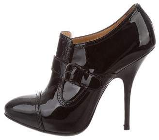 Lanvin Patent Leather Buckle Booties