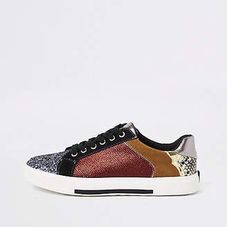 River Island Dark red glitter lace-up sneakers