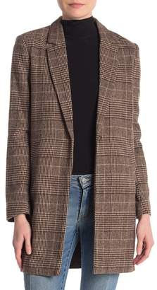 Love Tree Plaid One Button Coat