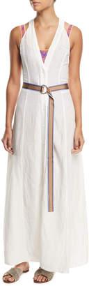 Diane von Furstenberg Sleeveless Button-Front Swim Coverup Dress