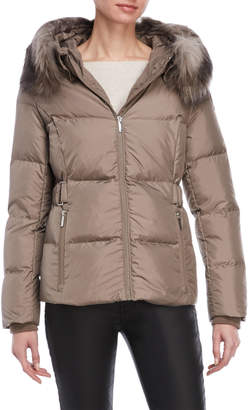 DKNY Faux Fur Back Belt Down Coat