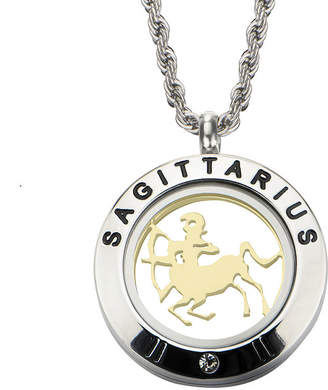 FINE JEWELRY Sagittarius Zodiac Reversible Two-Tone Stainless Steel Locket Pendant Necklace