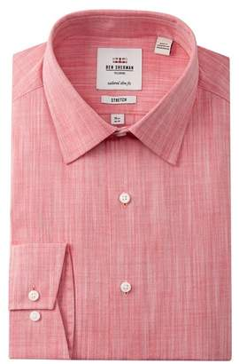 Ben Sherman Stretch Slub Dobby Tailored Slim Fit Dress Shirt