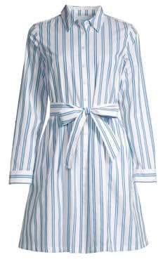 Draper James Women's Striped Shirtdress - Blue Multi - Size 0