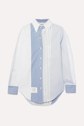 Thom Browne Striped Cotton-poplin Shirt - Blue