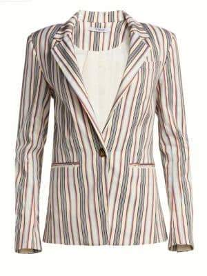 Derek Lam 10 Crosby Striped Tailored Ruffle-Trim Blazer