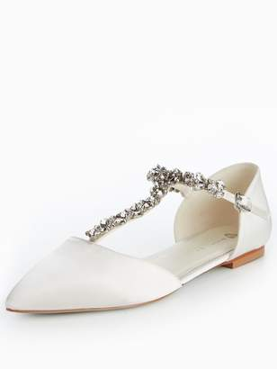Very Luise Bridal Jewelled Flat Point Satin Shoes