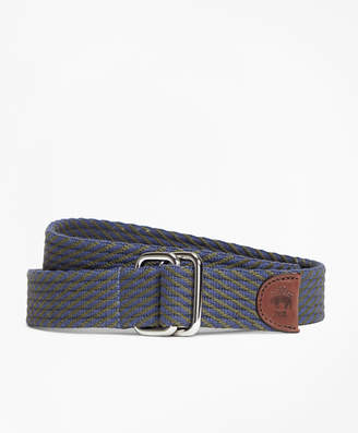 Brooks Brothers Striped Woven D-Ring Belt