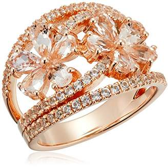 Rose Gold-plated Silver Morganite and Created White Sapphire Bypass Flower Ring