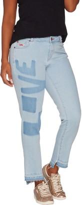 Peace Love World Washed L.O.V.E. Denim Jeans with Fringe Hem