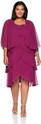 S.L. Fashions Women's Plus Size Chiffon Tier Jacket Dress with Bead Neck