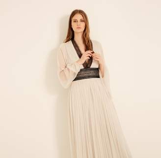 Amanda Wakeley Tulle & Lace Long Dress in Silver