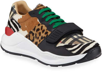Burberry Men's Ramsey Signature Check & Mixed Animal-Print Sneakers