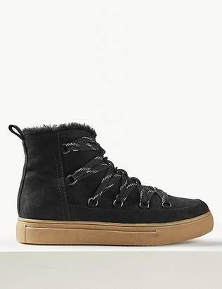 Marks and Spencer Fur Lined Lace-up Ankle Boots