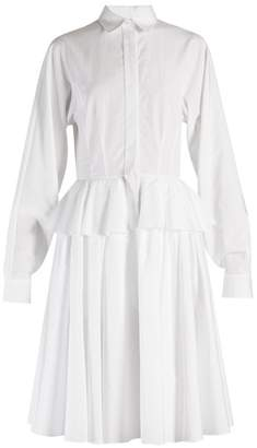 Givenchy Point Collar Fluted Peplum Cotton Dress - Womens - White