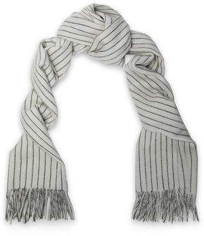 Rag & Bone Fringed Pinstriped Merino Wool Scarf