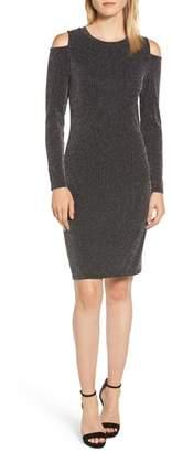 MICHAEL Michael Kors Metallic Stripe Cold Shoulder Dress