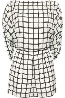 Diane von Furstenberg Open-back Checked Crepe Playsuit