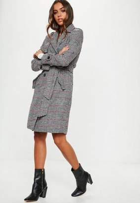Missguided Black Plaid Formal Belted Trench
