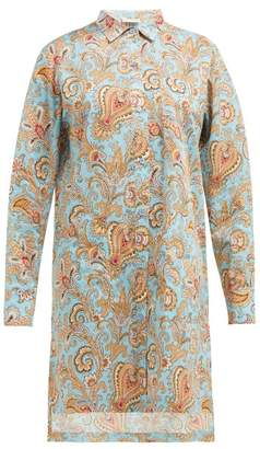 Etro Paisley Print Cotton Poplin Shirtdress - Womens - Light Blue