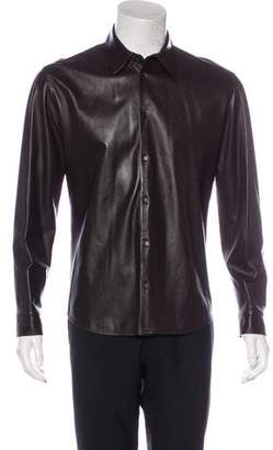 Calvin Klein Collection Leather Button-Up Shirt