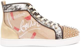 Christian Louboutin Louis Spike Embellished Kraft High Top Trainers - Mens - Beige Multi