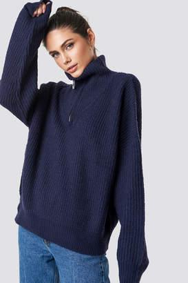NA-KD Na Kd Front Zipper Knitted Sweater Beige