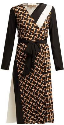 Diane von Furstenberg Maureen Geometric Print Silk Wrap Dress - Womens - Black White