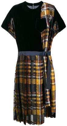 Sacai tartan T-shirt dress