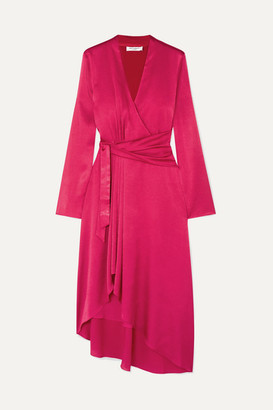 Equipment Adisa Asymmetric Wrap-effect Satin Dress - Magenta