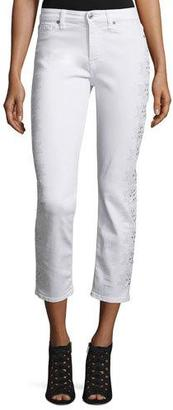 7 For All Mankind Kimmie Embroidered-Outseam Cropped Jeans, White $399 thestylecure.com
