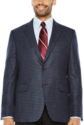 STAFFORD Stafford Merino Wool Sportcoat Blue Gray Red Windowpane - Classic