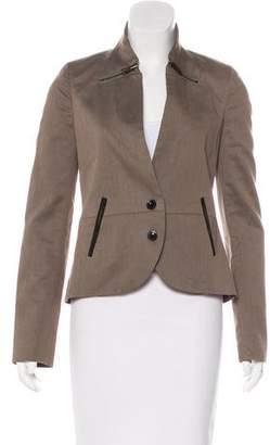 J Brand Leather-Trimmed Structured Jacket