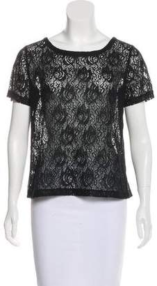 Barneys New York Barney's New York Short Sleeve Lace Top