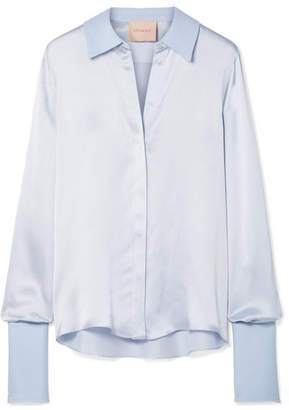 Roksanda Kanika Silk-blend Satin-seersucker Shirt - Sky blue
