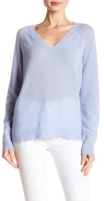 Minnie Rose Frayed Edge Long Sleeve V-Neck Cashmere Sweater