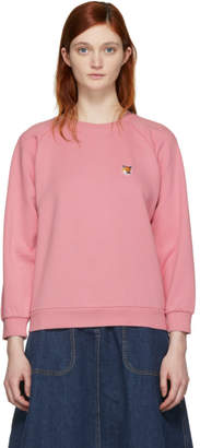 MAISON KITSUNÉ SSENSE Exclusive Pink Fox Head Patch Sweatshirt