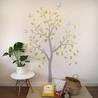 ee3166d101 POM GIFTS Yellow And Grey Bird Tree Wall Stickers
