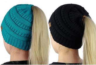 C&C C.C BeanieTail Soft Stretch Cable Knit Messy High Bun Ponytail Beanie Hat, 2 Pack
