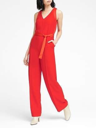 Banana Republic Petite Mixed Media V-Neck Jumpsuit