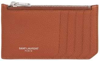 Saint Laurent Fragments Leather Zip Card Case