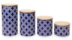 American Atelier Set of Four Quatrefoil Ceramic Canisters