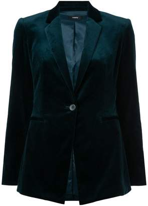 Theory single breasted velvet blazer