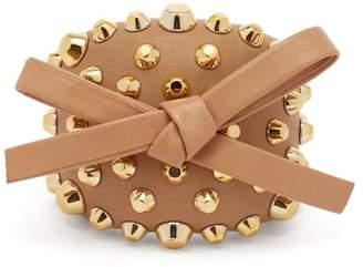 Prada Bow And Stud Embellished Leather Cuff - Womens - Beige