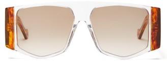 Loewe Tortoiseshell Angular Aviator Sunglasses - Womens - Tortoiseshell