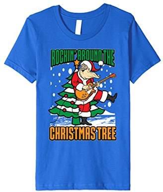 Funny Cute Rockin' Around The Christmas Tree Guitar T Shirt