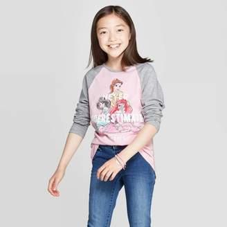 Princess Girls Disney Princess Girls' Disney Princess Never Underestimate Long Sleeve Raglan T-Shirt - Light Pink