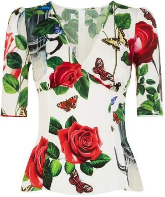 Dolce & Gabbana Coffee Pot Floral Blouse
