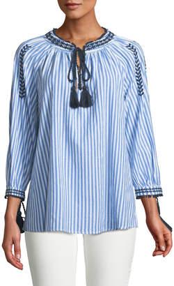 Neiman Marcus 3/4-Sleeve Striped Peasant Blouse