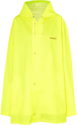 Vetements Hooded Printed Neon Coated-shell Raincoat - Bright yellow